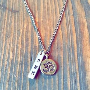 Hand stamped ohm necklace